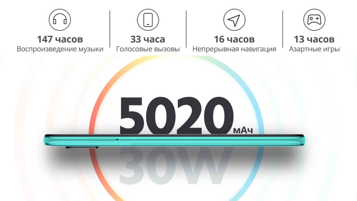 Redmi Note 9 Pro батарея емкостью 5020 мАч